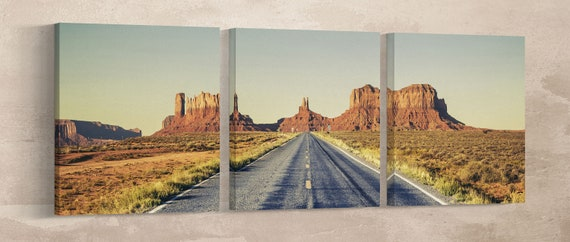 Monument Valley Road Vintage Filter Leather Print/Large Wall Art/Large Wall Decor/Monument Valley Road Large Print/Better than Canvas!