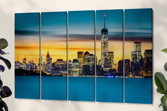 New York sunset framed canvas leather print/Statue of Liberty print/Large wall art/Large New York print/Made in Italy/Better than Canvas
