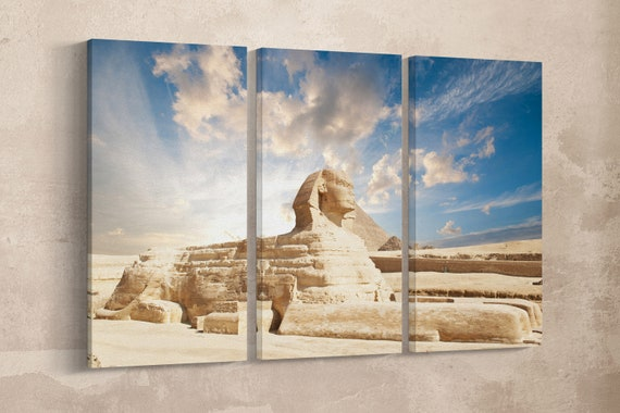 3 Pieces The Great Sphinx of Giza Leather Print/Wall Art/Wall Decor/Extra Large Leather Print/Multi Panels Leather Print/Better than Canvas!