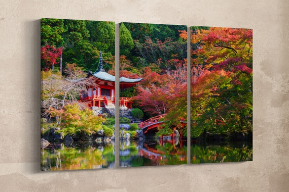 3 Panel Daigoji Temple, Kyoto, Japan Leather Print/Large Japan Temple/Large Wall Art/Multi Panel Wall Art/Made in Italy/Better than Canvas!