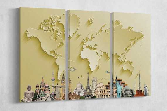 Gold World Map With Monuments 3D Effect Leather Print/Large World Map/Silver World Map/Multi Pieces World Map/Better than Canvas!