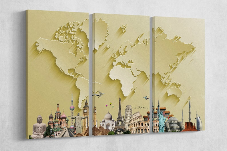 Gold World Map With Monuments 3D Effect Leather Print/Large image 0