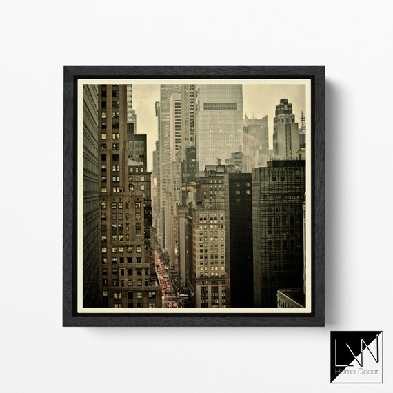 42nd Street New York Buildings Vintage Filter Leather Print/Large New York Print/Large Wall Art/Wall Decor/Made in Italy/Better than Canvas!