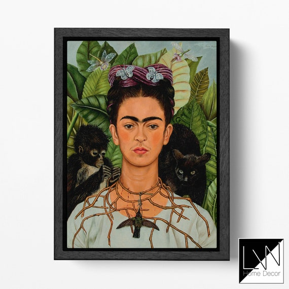 Frida Kahlo Leaves and Flowers Self-Portrait Reproduction Canvas Leather Print