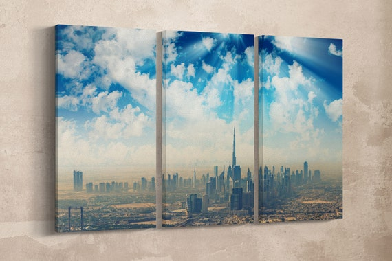 3 Pieces Skyline of Dubai Leather Print/Large Dubai Art/Large Wall Art/Large Wall Decor/Multi Panel Print/Made in Italy/Better than Canvas!