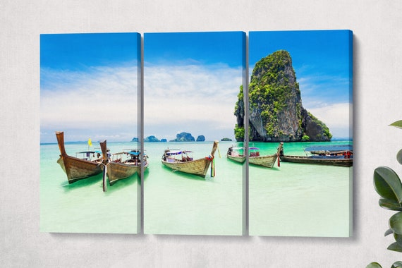 Phuket, Thailand Longtail Boats and the Sea Canvas Leather Print/Phuket Print/Longtale Boats/Large Wall Art/Made in Italy/Better than Canvas
