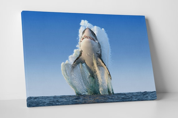 Shark jumping out of the water leather print/Multi Panel Print/Wild Animal Print/Extra Large Print/Large wall art/Better than Canvas!