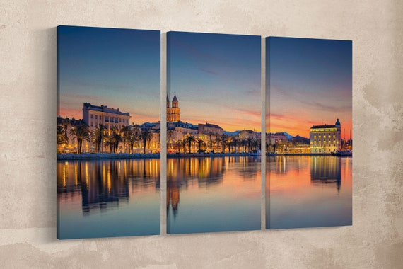 Split at sunrise canvas leather print/Large Split print/Croatia print/Large wall art/Large wall decor/Made in Italy/Better than Canvas!