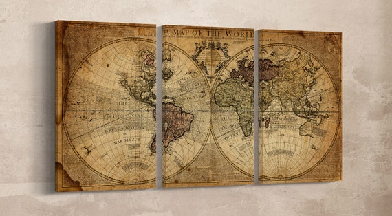 Large Wall Art World Map Leather Print/Vintage World Map Print/Antique World Map/Old World Map/Extra Large World Map/Better than Canvas!