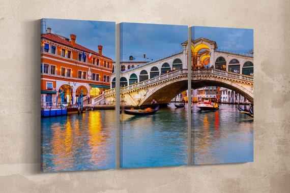 3 Pieces Venezia, Rialto Bridge at Dusk Leather Print/Venice Wall Art/Rialto Bridge Large Print/Large Wall Decor/Better than Canvas!