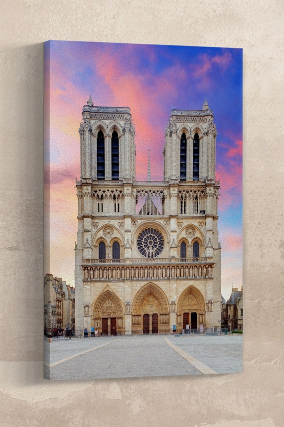 Notre-Dame Cathedral Facade in Paris Leather Print/Large Wall Art/Large Wall Decor/Paris Wall Art/Made in Italy/Better than Canvas!