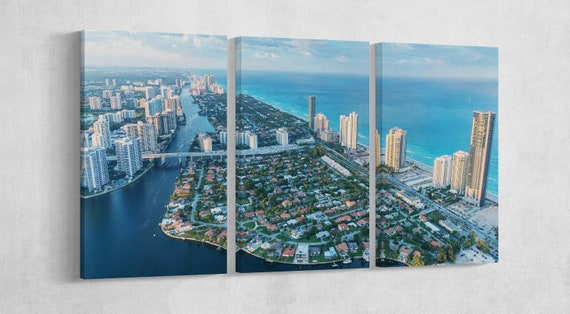 Miami Skyline Aerial View Leather Print/Miami Extra Large Print/Large Wall Art/Multi Panel/Made in Italy/Better than Canvas!