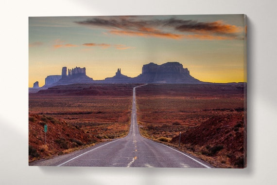 Monument Valley Road Leather Print/US Landscapes/Multi Panels Print/Multi Pieces Print/Extra Large Print/Better than Canvas!