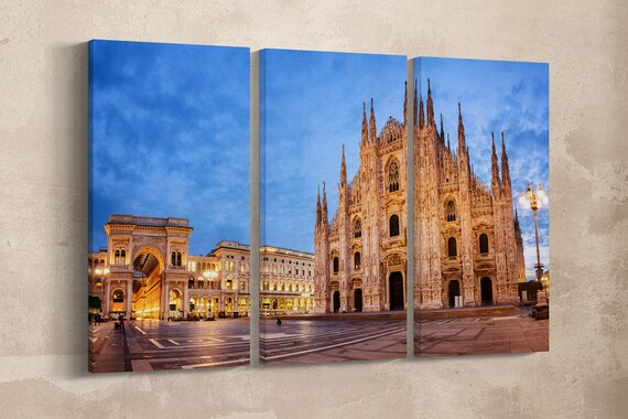 3 Panel Milan Cathedral, Duomo di Milano Leather Print/Large Milano Print/Large Wall Art/Duomo Canvas/Made in Italy/Better than Canvas!