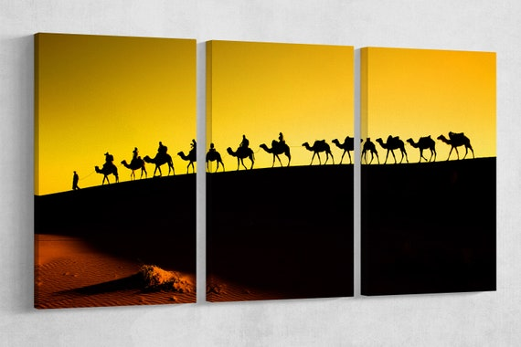 Sahara Desert, Camel Caravan Leather Print/Large Sahara Print/Morocco Print/Large Wall Art/Wall Decor/Made in Italy/Better than Canvas!