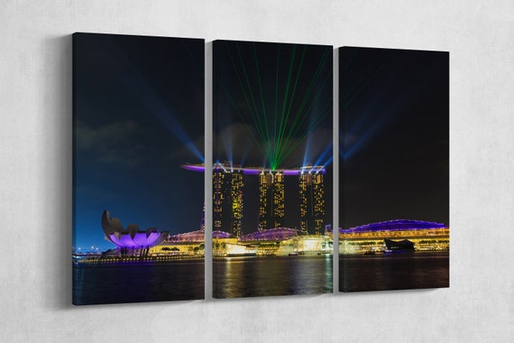 3 Panel Marina Bay Sands Laser Show Leather Print/Large Singapore Print/Large Marina Bay Print/Wall Art/Made in Italy/Better than Canvas!