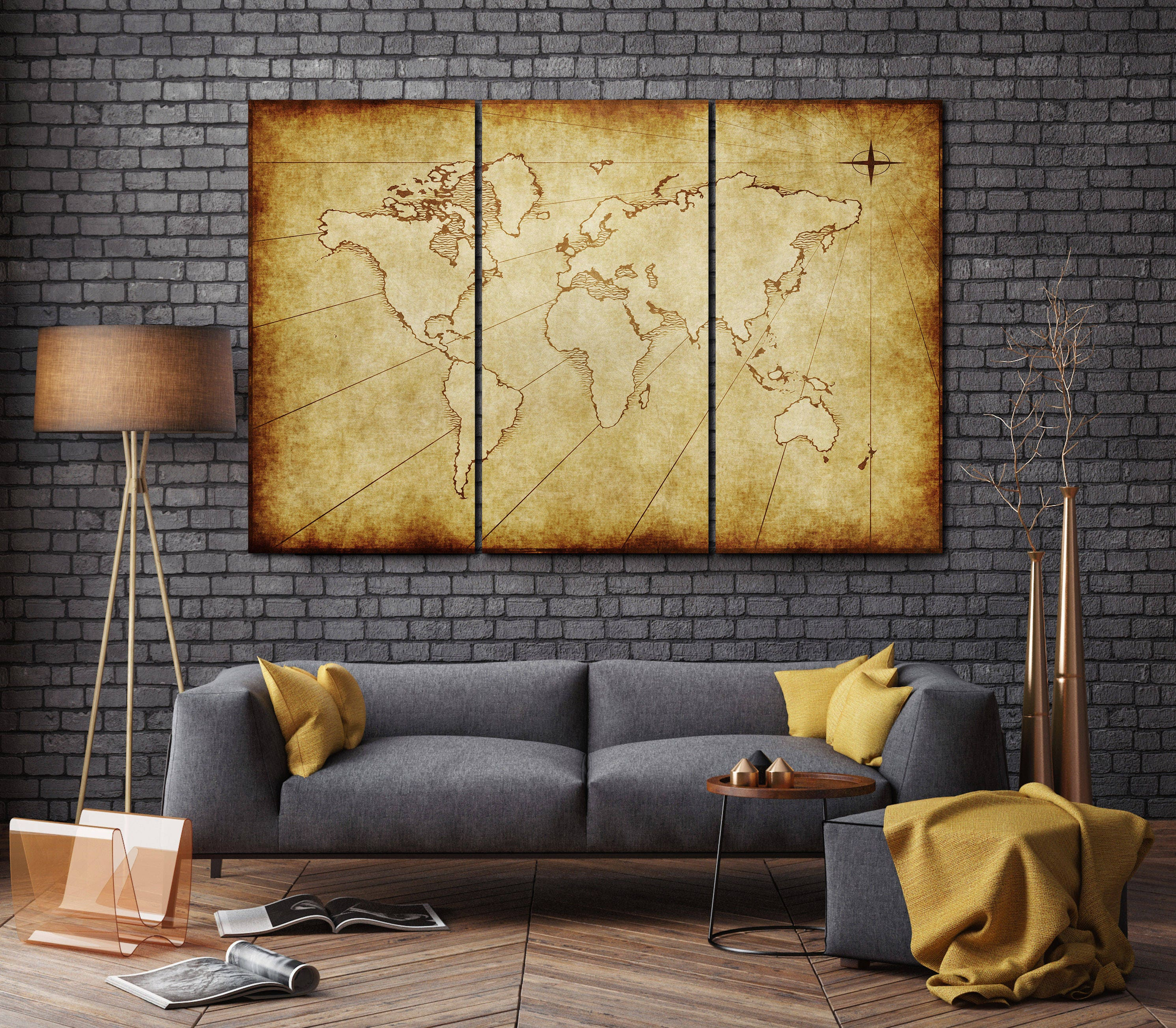 3 Pieces Old Grungy World Map Leather Print/Large Wall