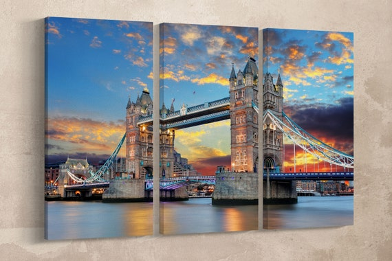 3 Pieces Tower Bridge London, UK Leather Print/Extra Large Print/Multi Panel Print/London Print/Wall Art/Wall Decor/Better than Canvas!