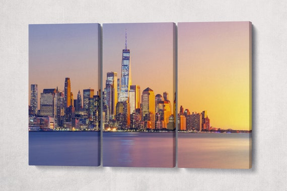Lower Manhattan at Sunset Framed Canvas Leather Print