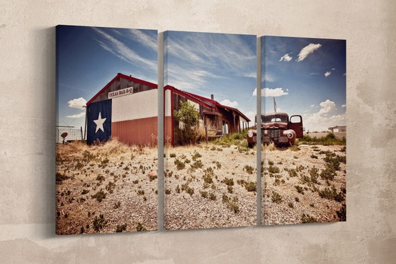 3 Panel Abandoned Texas Bar-B-Q Restaurant on Route 66 Leather Print/Texas Print/Route 66/Large Wall Art/Made in Italy/Better than Canvas!