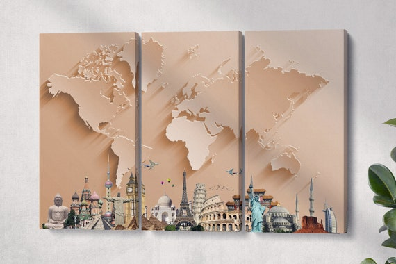 Bronze World Map With Monuments 3D Effect Leather Print/Large World Map/World Map Artwork/Multi Pieces World Map/Better than Canvas!