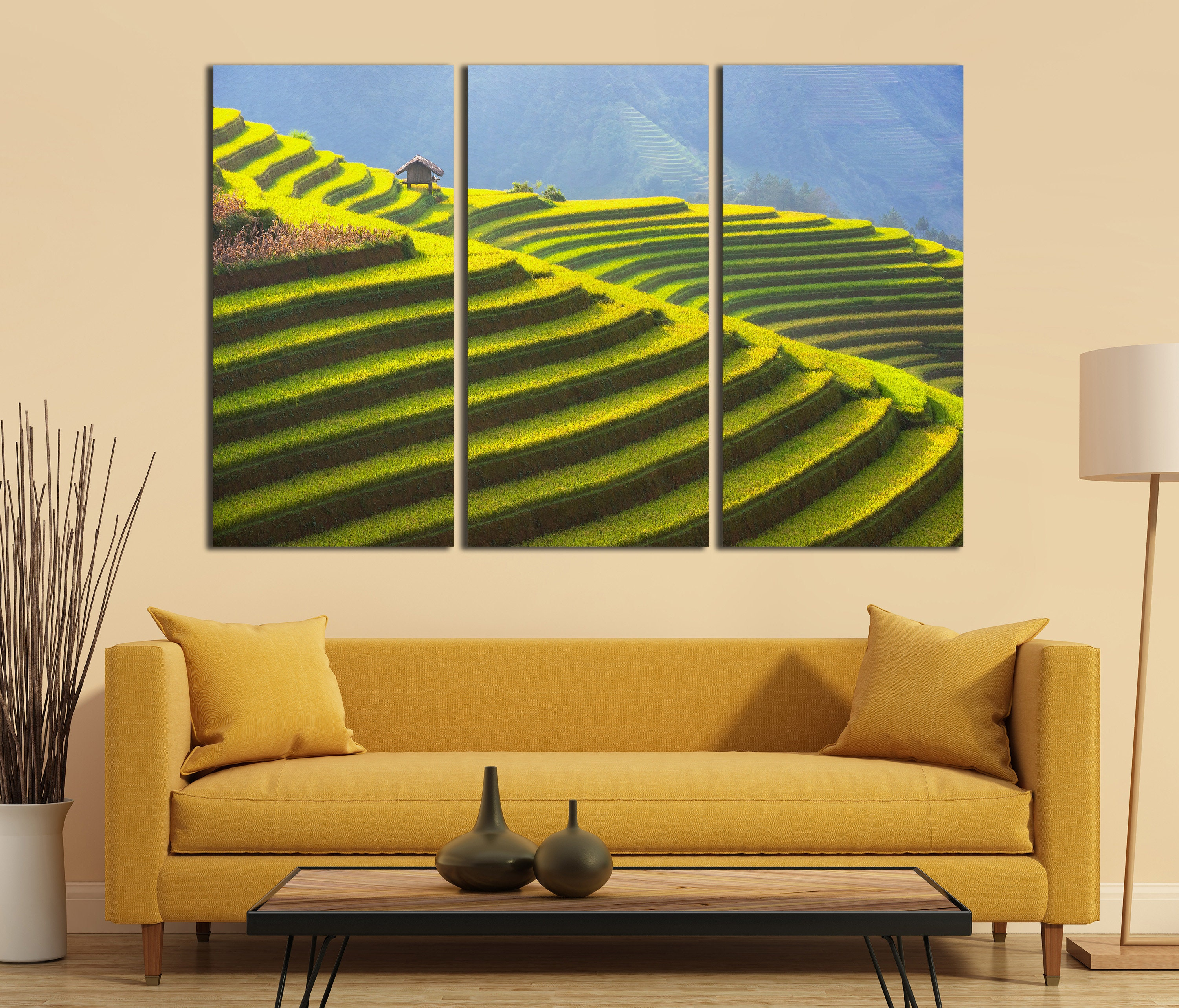 3 Panel Rice Terrace of Vietnam Landscape Leather Print/Large Wall ...