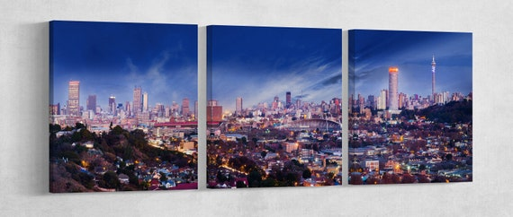 Johannesburg Skyline Leather Print/Multi Panel Johannesburg Print/Large Wall Art/Large Wall Decor/Made In Italy/Better than Canvas!