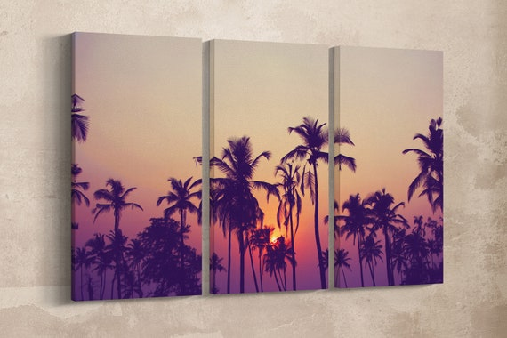 3 Panel Silhouette of palm trees at sunset leather print/Large Wall Art/Large Wall Decor/Multi Panel print/Palm Wall Art/Better than Canvas!