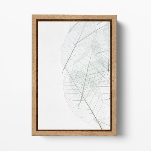 Minimalist Leaf Wall Art Print Ready to Hang Framed Canvas Eco Leather Print