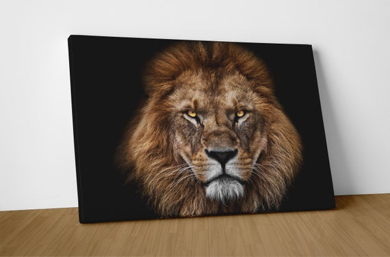 Lion Face Portrait Leather Print/Large Wall Art/Large Animal Print/Large Lion Print/Large Wall Decor/Made in Italy/Better than Canvas!