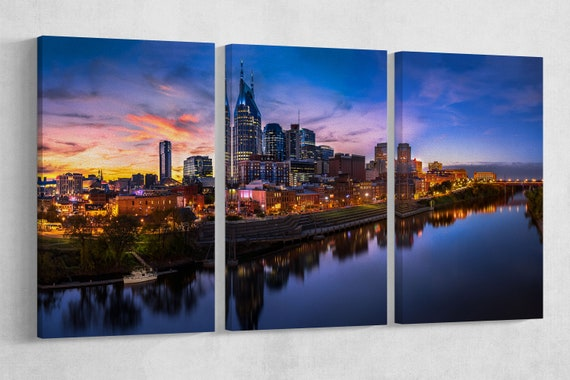 Nashville Skyline Sunset Leather Print/Extra Large Wall Art/Nashville Multi Panel Print/Large Wall Decor/Made in Italy/Better than Canvas!