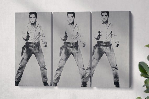 Triple Elvis Andy Wharol Leather Print Reproduction/Large Wall Art/Andy Wharol/Large Canvas/3 Panel Print/Made in Italy/Better than Canvas!