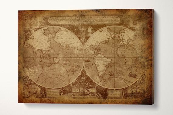 Vintage Old World Map in Hemispheres Canvas Leather Print/Vintage World Map/Large Wall art/Large World Map/Made in Italy/Better than Canvas!