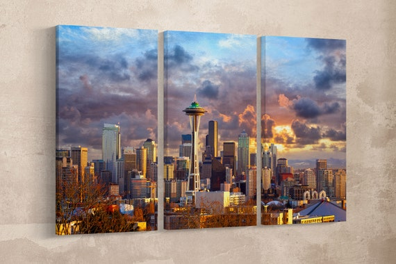 3 Pieces Seattle Skyline at Sunset, Washington, USA Leather Print/3 Panel Wall Art/3 Panel Seattle Print/Large Wall Art/Better than Canvas!