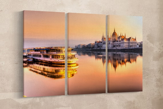 Budapest Parliament at Sunrise Leather Print/Danube River/Budapest Large Print/Budapest Wall Art/Triptych/Made in Italy/Better than Canvas!