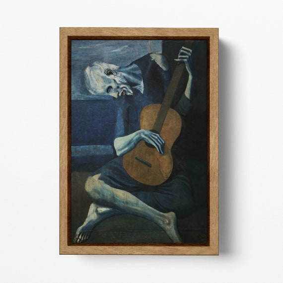 The Old Guitarist by Pablo Picasso Framed Canvas Leather Print