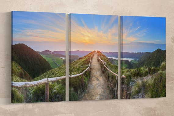 Sao Miguel Island Sunrise, Ponta Delgada, Azores, Portugal Leather Print/Large Wall Art/Large Wall Decor/Made in Italy/Better than Canvas!