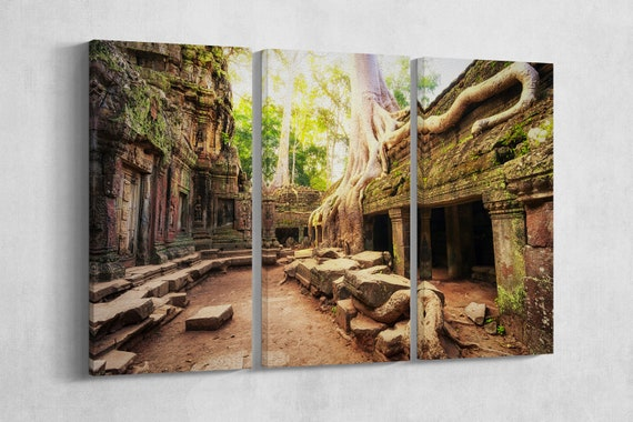3 Panel Angkor Wat Cambodia, Ta Prohm Khmer Buddhist Temple Leather Print/Large Wall Art/3 Panel Print/Made in Italy/Better than Canvas!