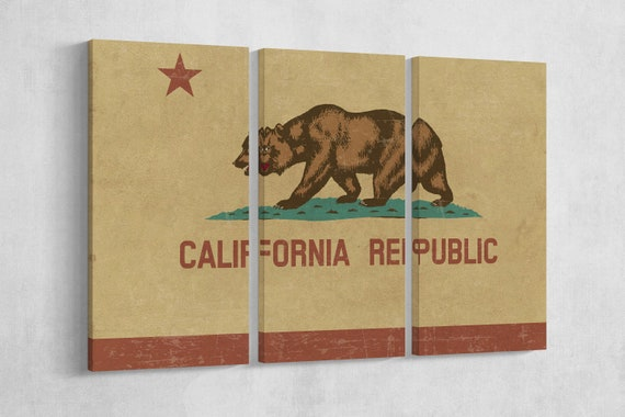 Grunge California Flag Leather Print/California Republic Canvas/Large California Flag/Large Wall Art/Made in Italy/Better than Canvas!