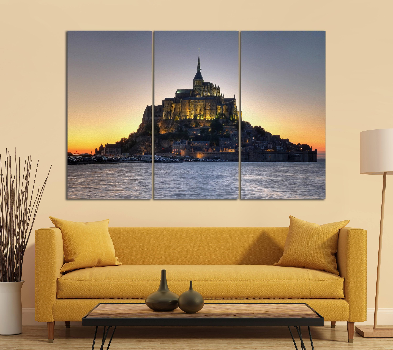 3 Panel Mont Saint Michel Abbey, Normandy, France Leather Print ...