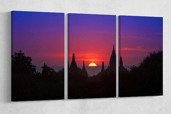 Purple Sky Sunset in Bagan, Myanmar Framed Canvas Leather Print
