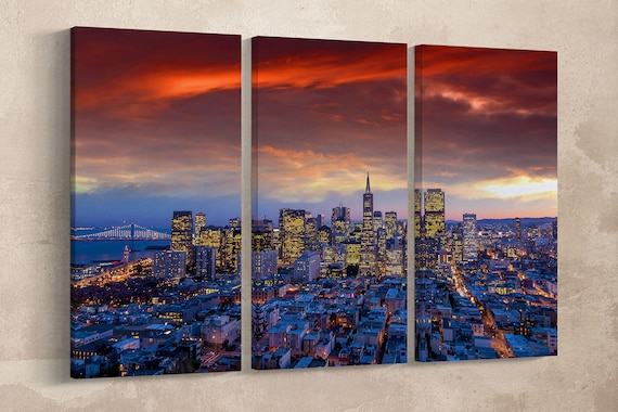 San Francisco Downtown View at Sunset/San Francisco Wall Art/Extra Large Wall Art/Large Wall Decor/Made in Italy/Better than Canvas!