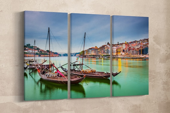 3 Panel Porto, Portugal Douro River with Traditional Rabelo Boats Leather Print/Large Wall Art/Wall Decor/Made in Italy/Better than Canvas!