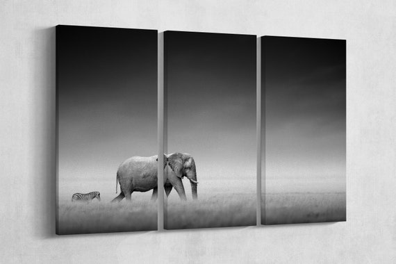 3 Pieces Elephant With Zebra in Etosha Black&white Leather Print/Multi Panel Print/Wild Animal Print/Extra Large Print/Better than Canvas!