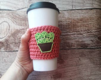 Succulent gift, succulents, cactus gift, coffee cozy, cactus cup cozy, succulents coffee cozy, coffee cuff, cactus cup sleeve, gift under 10