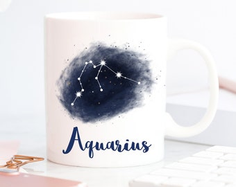 Aquarius Gift | Coffee Mug | Zodiac Sign | January to February Birthday Gift | Constellation | Gift for Her | Star Sign | Personalized Gift