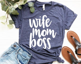 f834c607ed Wife Mom Boss T-Shirt - Navy, SAHM, Working Mom Tee, Ready to Ship  **CLEARANCE**