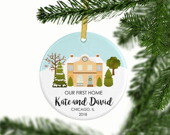 Our First Home Ornament   Personalized Christmas Ornaments   Mr and Mrs   Gift for Couples   Housewarming Gift   New Home Owners