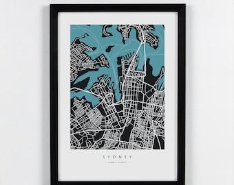Sydney, Australia - City Map Art Print - A3, A4. Graphical Home decor map
