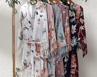 Floral Tassel Bridal Robes | Wedding Robes, Bridesmaid Gift, Getting Ready Outfit, spring wedding, boho robes, vintage robes